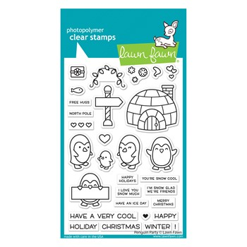 Lawn Fawn PENGUIN PARTY Clear Stamps lf2674