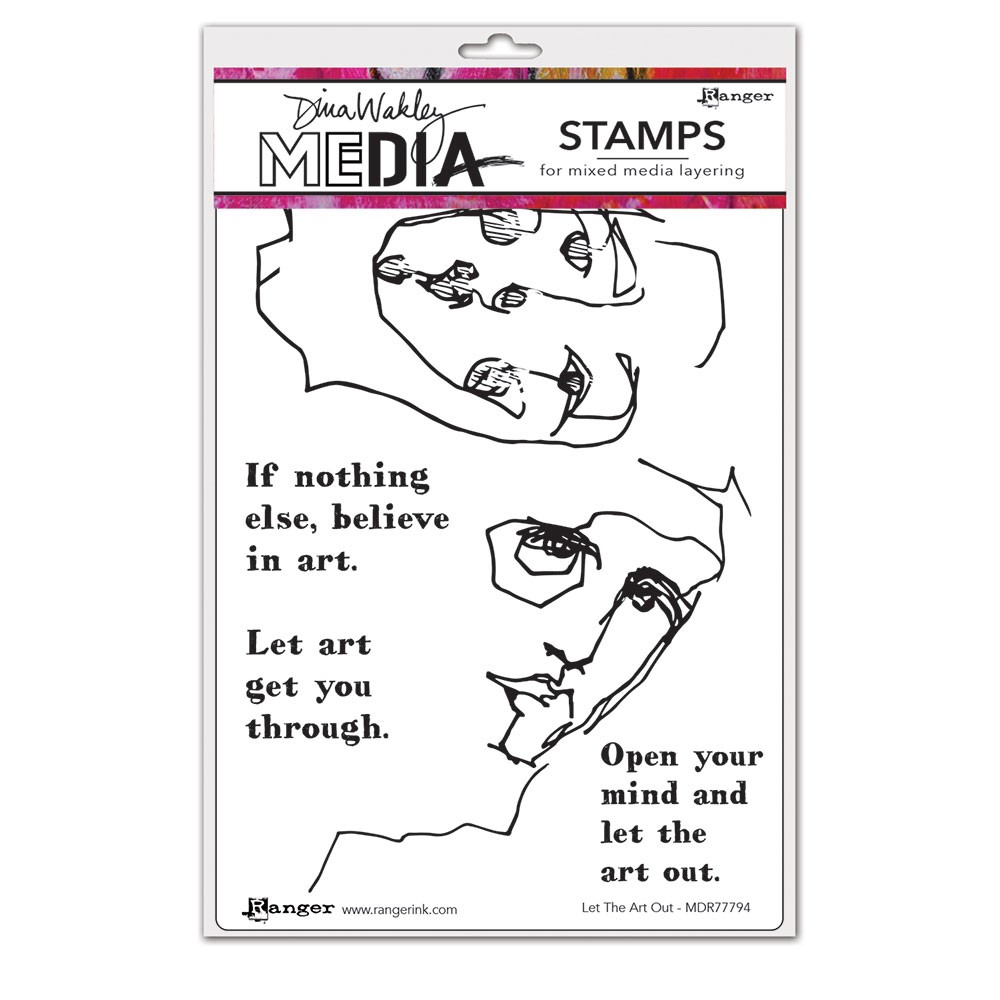Dina Wakley LET THE ART OUT Media Cling Rubber Stamp MDR77794 zoom image
