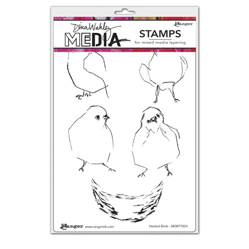 Dina Wakley NESTED BIRDS Media Cling Rubber Stamp MDR77824 Preview Image
