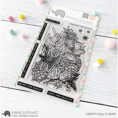 Mama Elephant Clear Stamps HAPPY HOLLY DAYS Preview Image