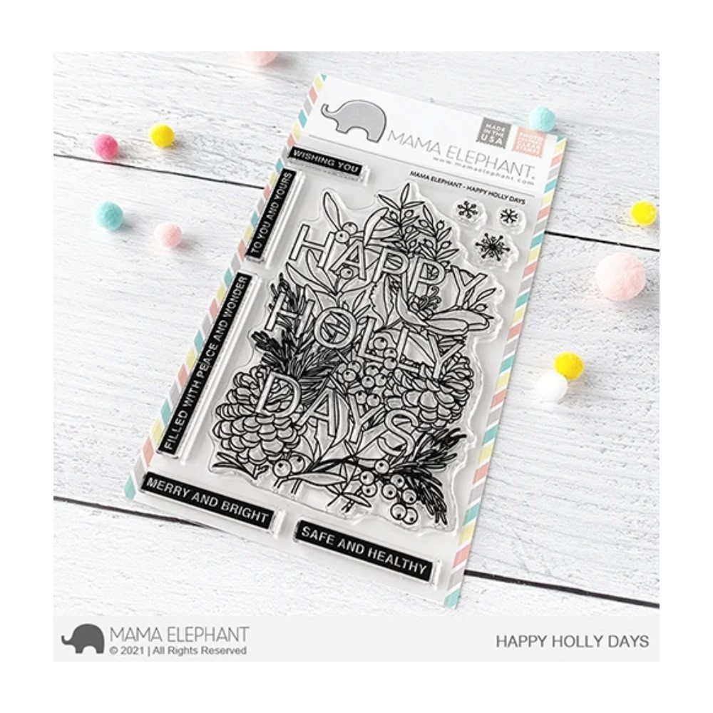Mama Elephant Clear Stamps HAPPY HOLLY DAYS zoom image