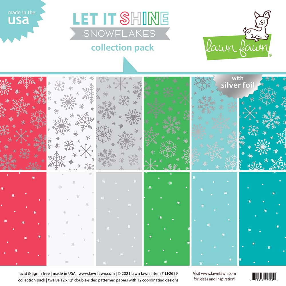 Lawn Fawn LET IT SHINE SNOWFLAKES 12x12 Inch Collection Pack lf2659 zoom image