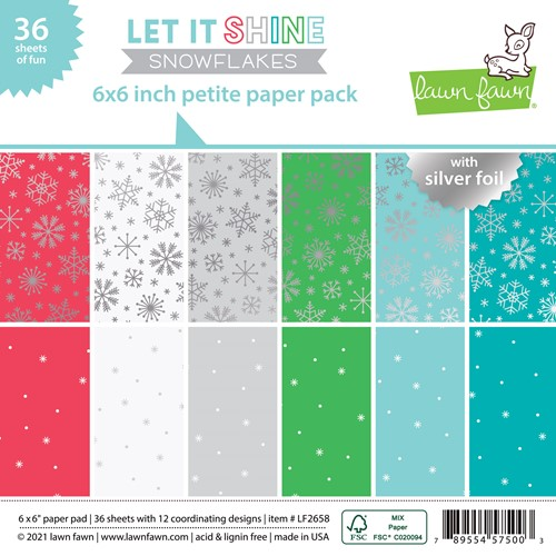 Lawn Fawn LET IT SHINE SNOWFLAKES 6x6 Inch Petite Paper Pack lf2658 Preview Image
