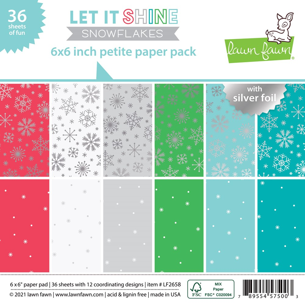 Lawn Fawn LET IT SHINE SNOWFLAKES 6x6 Inch Petite Paper Pack lf2658 zoom image