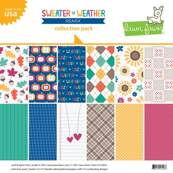 Lawn Fawn SWEATER WEATHER REMIX 12x12 Inch Collection Pack lf2651 **
