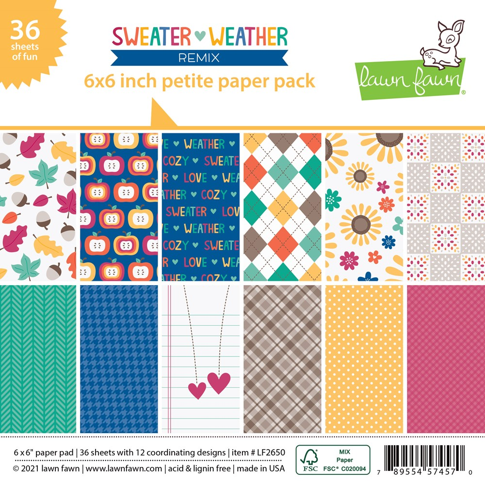 Lawn Fawn SWEATER WEATHER REMIX 6x6 Inch Petite Paper Pack lf2650 zoom image