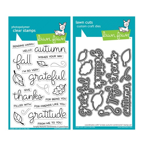 Lawn Fawn SET SCRIPTY AUTUMN SENTIMENTS Clear Stamps and Dies lfsas Preview Image