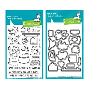 Lawn Fawn SET PURRFECTLY WICKED Clear Stamps and Dies lfpw