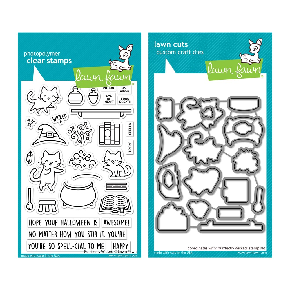 Lawn Fawn SET PURRFECTLY WICKED Clear Stamps and Dies lfpw zoom image