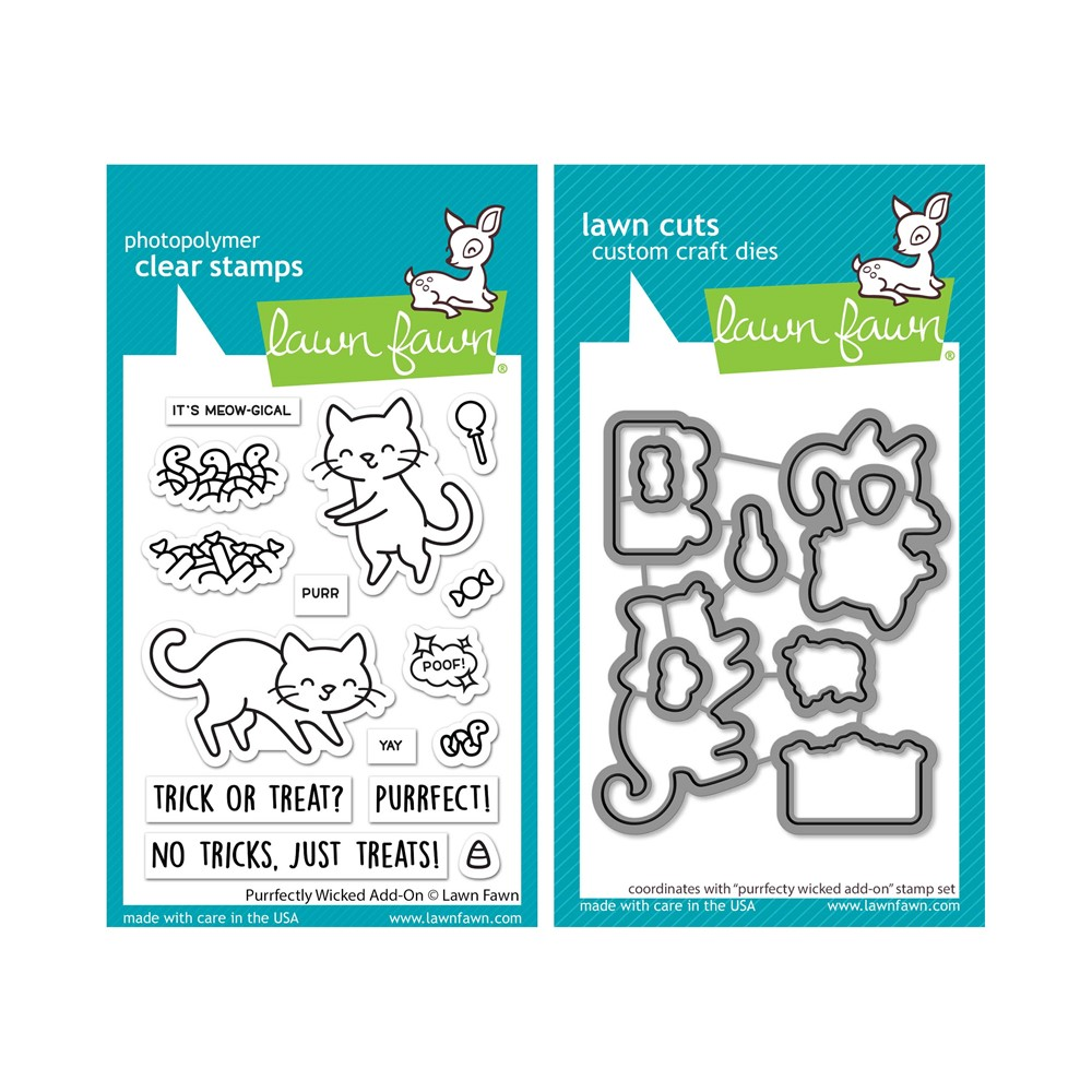 Lawn Fawn SET PURRFECTLY WICKED ADD-ON Clear Stamps and Dies lfpwao zoom image