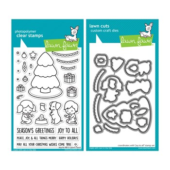 Lawn Fawn SET JOY TO ALL Clear Stamps and Dies lfjta