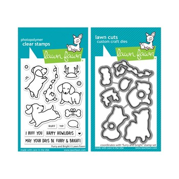 Lawn Fawn SET FURRY AND BRIGHT Clear Stamps and Dies lffab