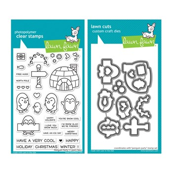 Lawn Fawn SET PENGUIN PARTY Clear Stamps and Dies lfpp