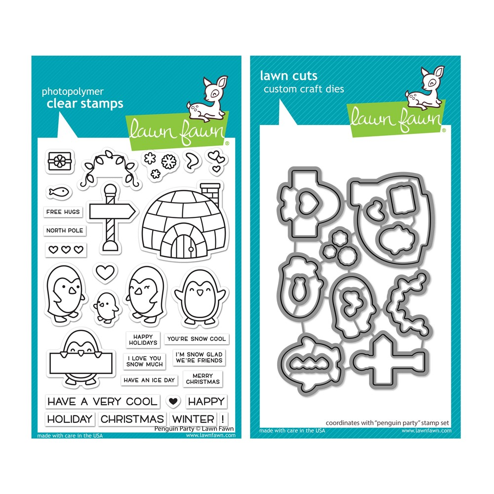 Lawn Fawn SET PENGUIN PARTY Clear Stamps and Dies lfpp zoom image