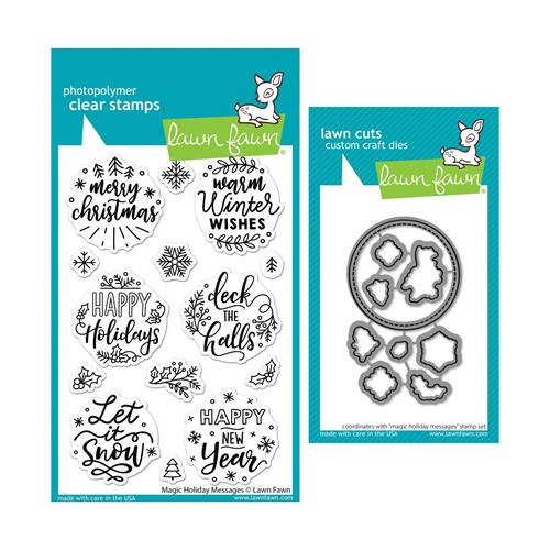 Lawn Fawn SET MAGIC HOLIDAY MESSAGES Clear Stamps and Dies lfmhm Preview Image