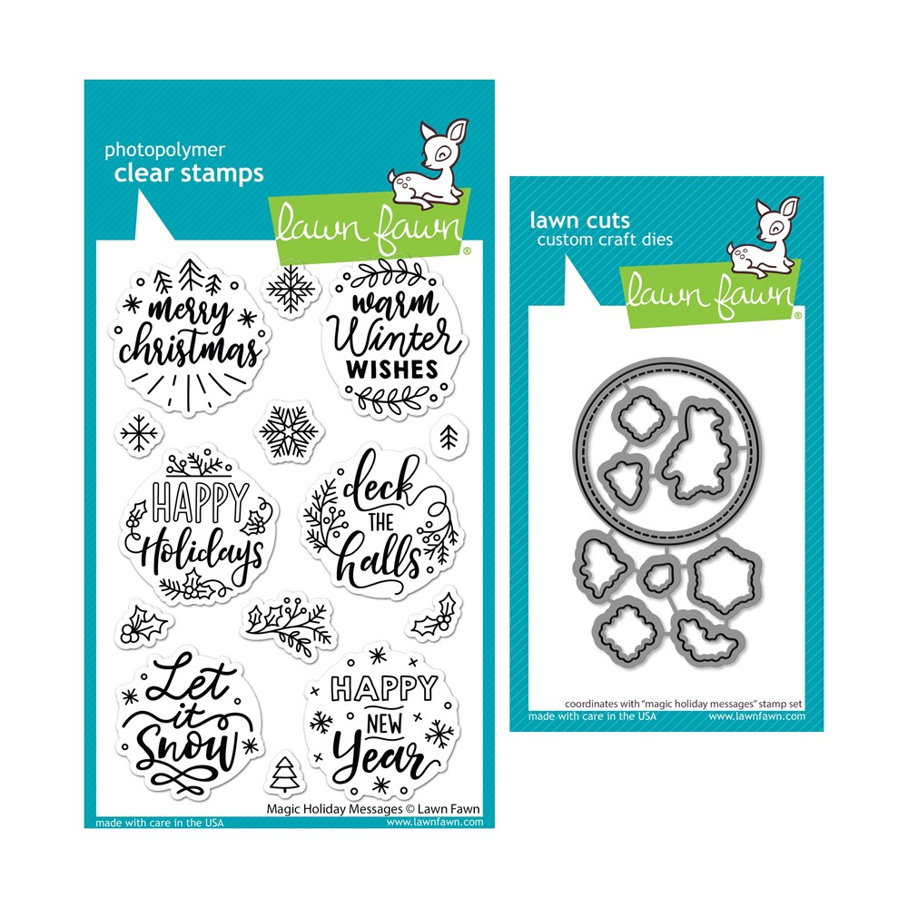 Lawn Fawn SET MAGIC HOLIDAY MESSAGES Clear Stamps and Dies lfmhm zoom image