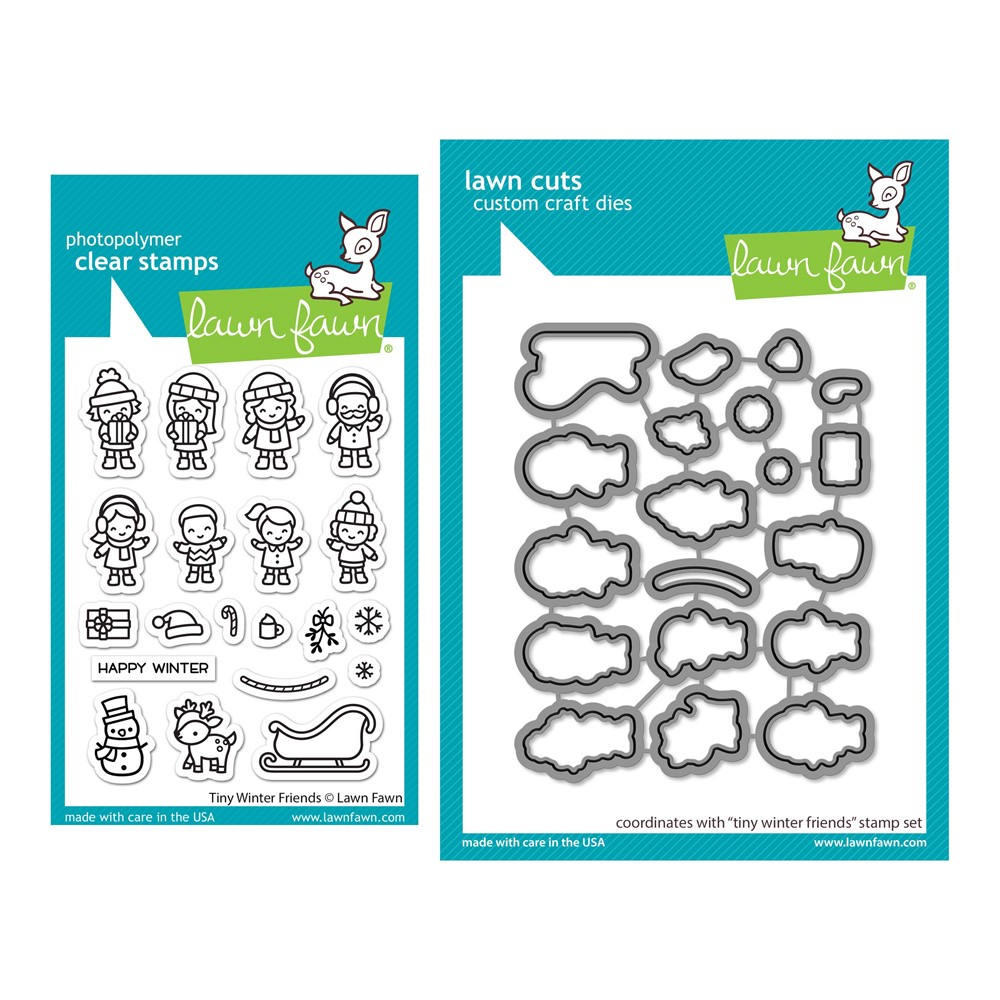 Lawn Fawn SET TINY WINTER FRIENDS Clear Stamps and Dies lftwf zoom image