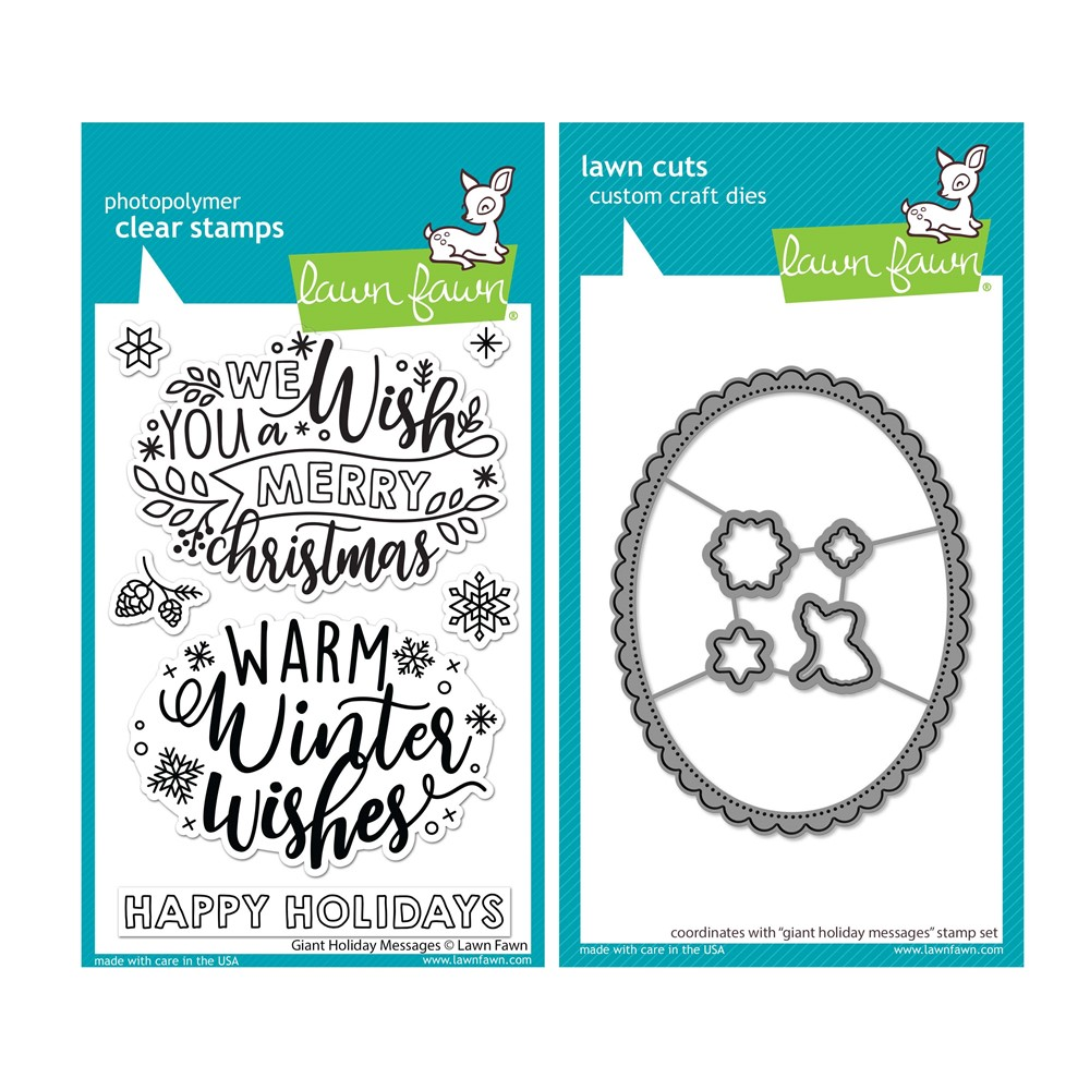 Lawn Fawn SET GIANT HOLIDAY MESSAGES Clear Stamps and Dies lfghm zoom image