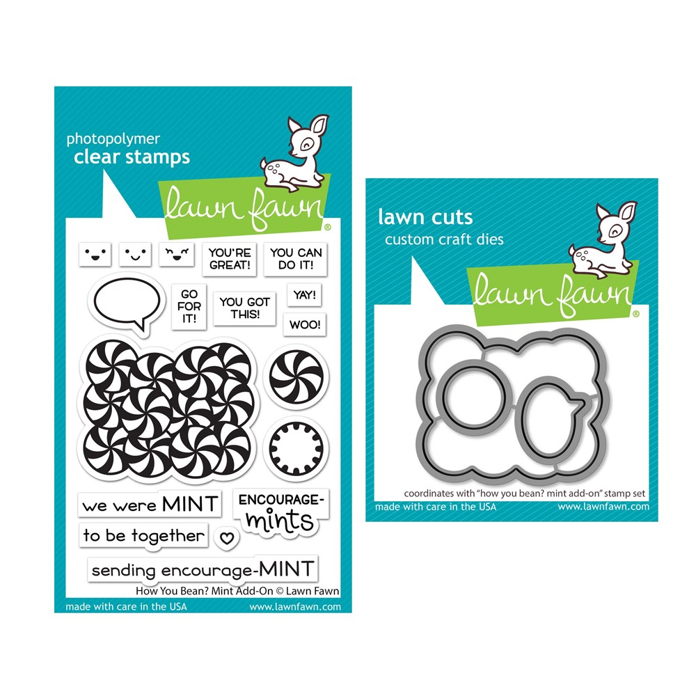 Lawn Fawn SET HOW YOU BEAN? MINT ADD-ON Clear Stamps and Dies lfhybm zoom image