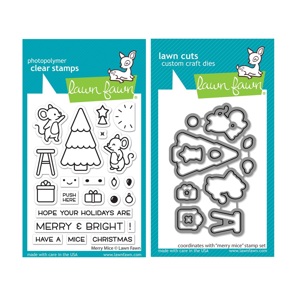 Lawn Fawn SET MERRY MICE Clear Stamps and Dies lfmm zoom image
