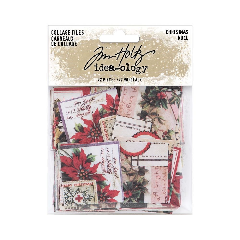 RESERVE Tim Holtz Idea-ology CHRISTMAS Collage Tiles th94189 zoom image