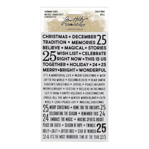 RESERVE Tim Holtz Idea-ology CHRISTMAS Remnant Rubs Tiny Text th94194 Preview Image