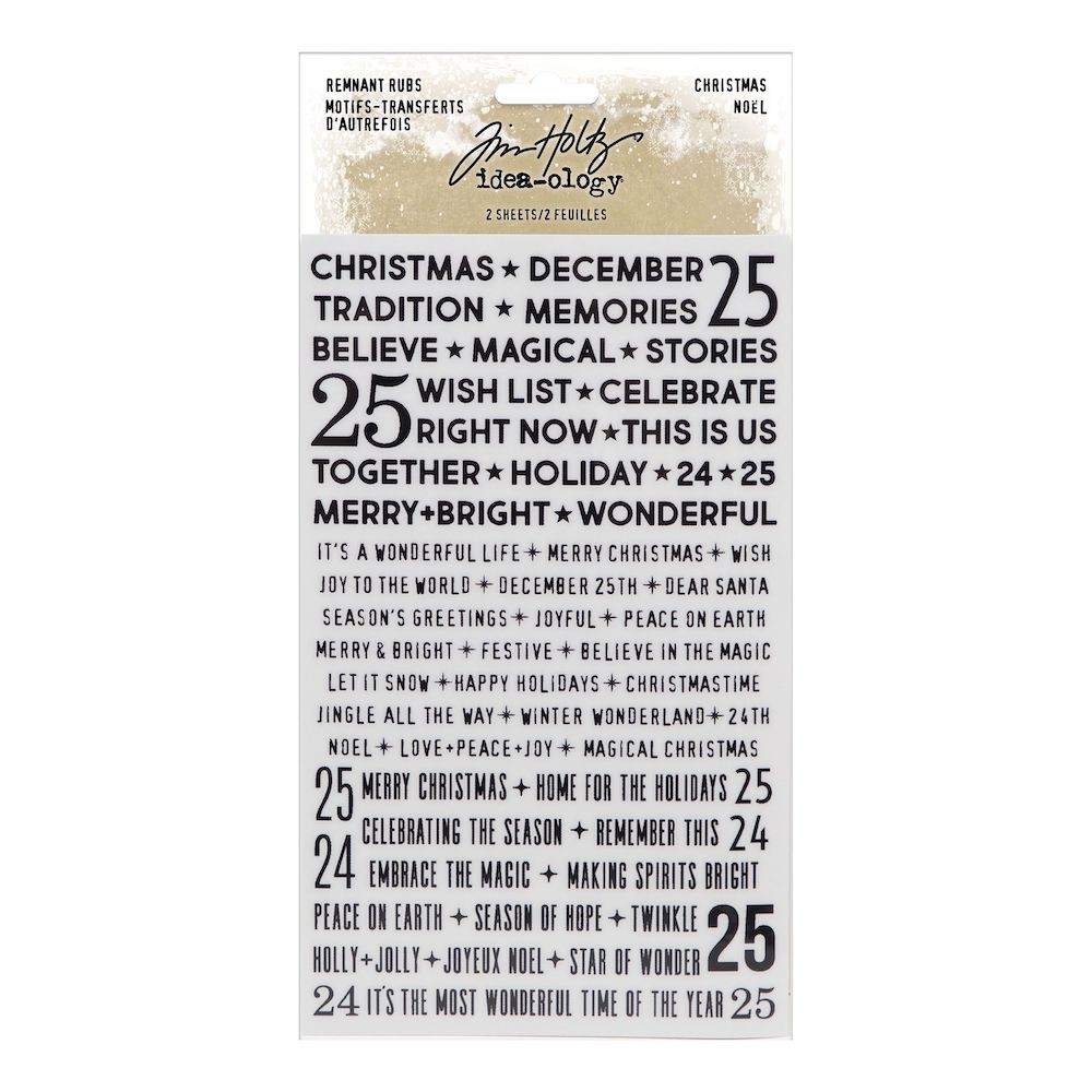 RESERVE Tim Holtz Idea-ology CHRISTMAS Remnant Rubs Tiny Text th94194 zoom image
