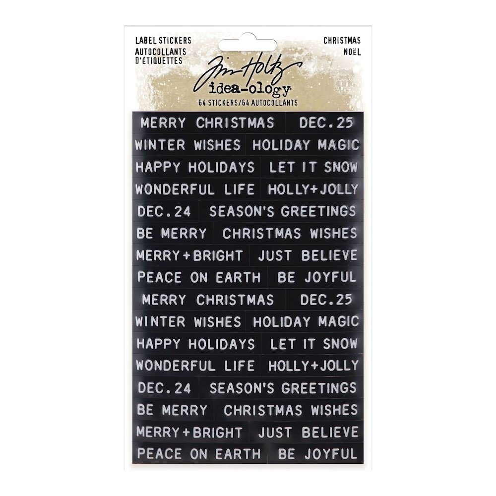 RESERVE Tim Holtz Idea-ology CHRISTMAS Label Stickers Sentiments th94205 zoom image