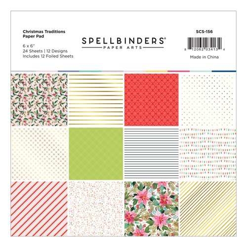 SCS-156 Spellbinders CHRISTMAS TRADITIONS 6 x 6 Inch Paper Pad Preview Image