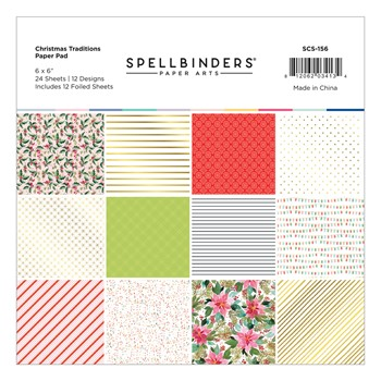 SCS-156 Spellbinders CHRISTMAS TRADITIONS 6 x 6 Inch Paper Pad