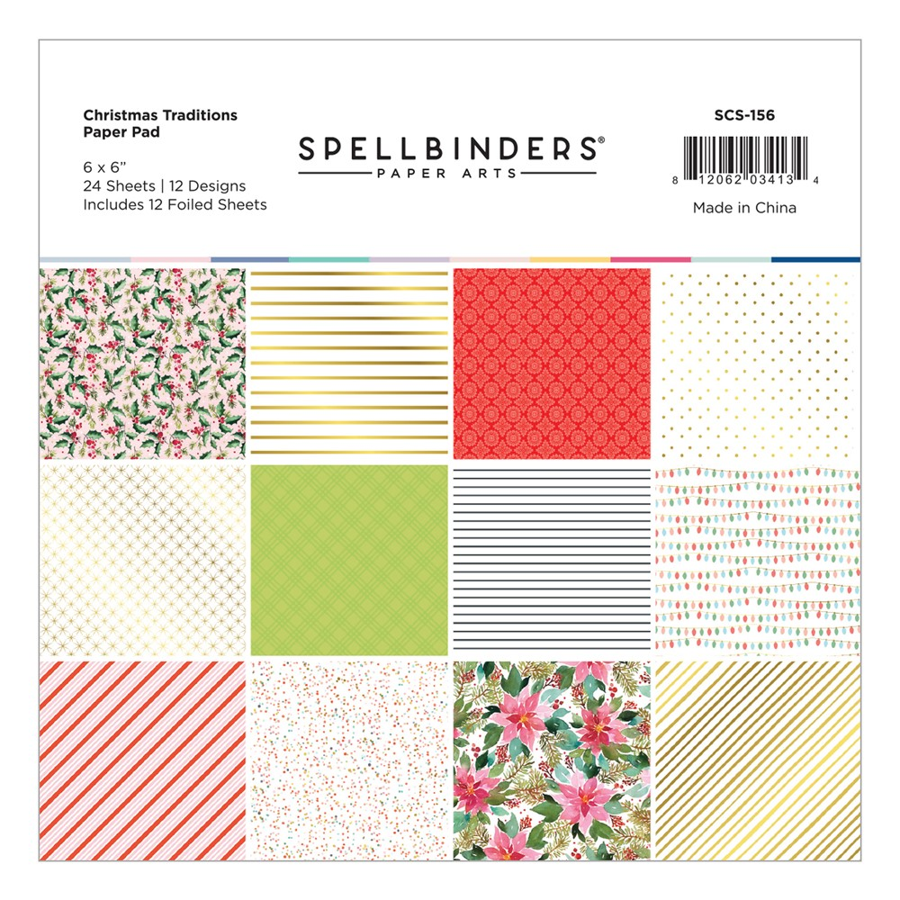 SCS-156 Spellbinders CHRISTMAS TRADITIONS 6 x 6 Inch Paper Pad zoom image