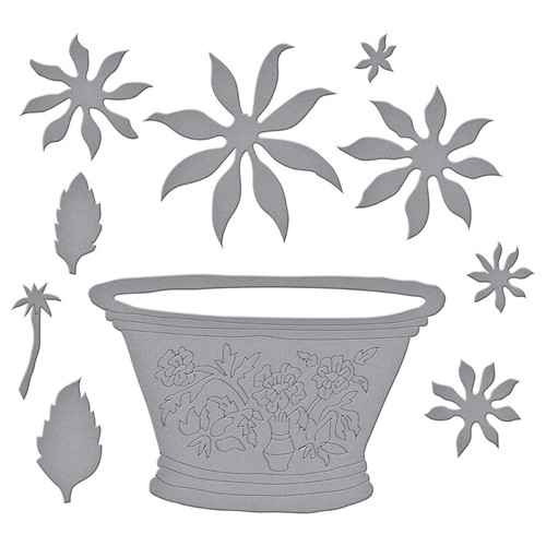 S6-180 Spellbinders CACTUS DAHLIA AND ORNAMENTAL GARDEN POTTERY Etched Dies Preview Image