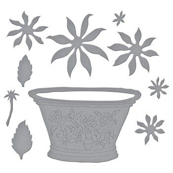 S6-180 Spellbinders CACTUS DAHLIA AND ORNAMENTAL GARDEN POTTERY Etched Dies