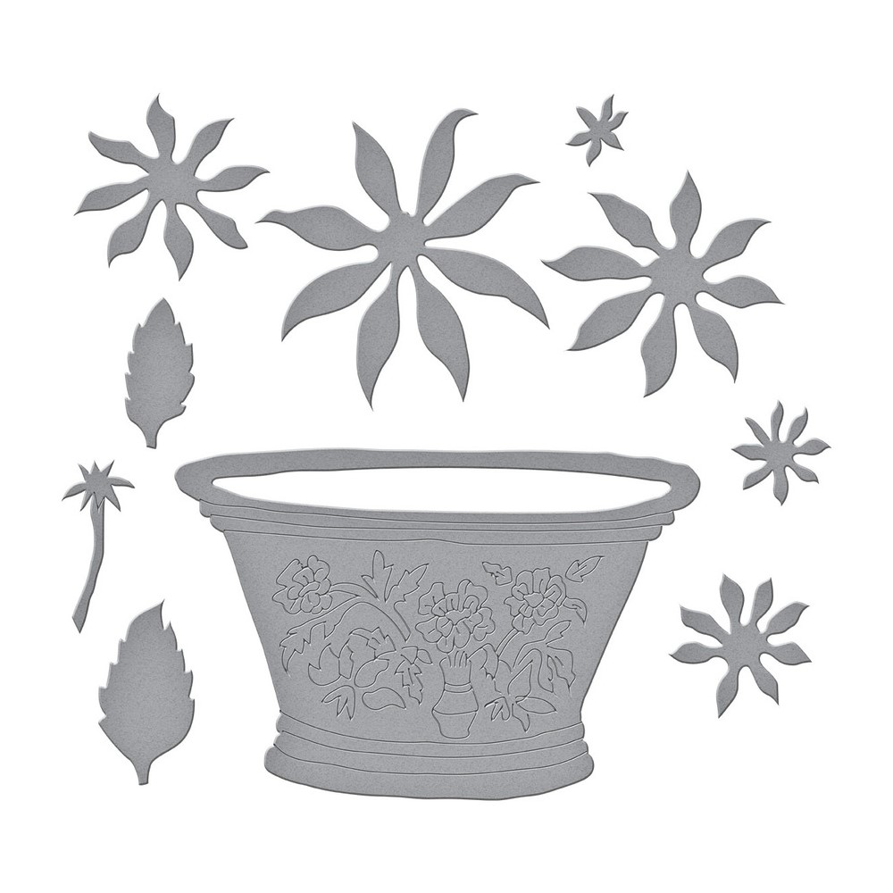 S6-180 Spellbinders CACTUS DAHLIA AND ORNAMENTAL GARDEN POTTERY Etched Dies zoom image