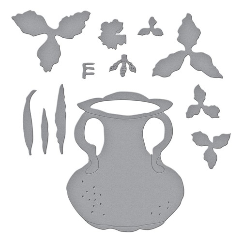 S5-470 Spellbinders DAFFODIL NARCISSUS AND ANTIQUE VASE WITH HONEY BEE Etched Dies Preview Image