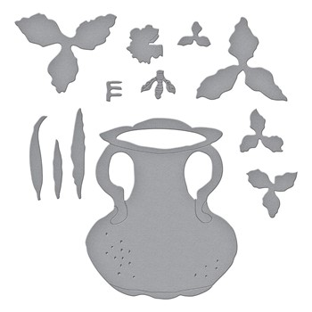 S5-470 Spellbinders DAFFODIL NARCISSUS AND ANTIQUE VASE WITH HONEY BEE Etched Dies