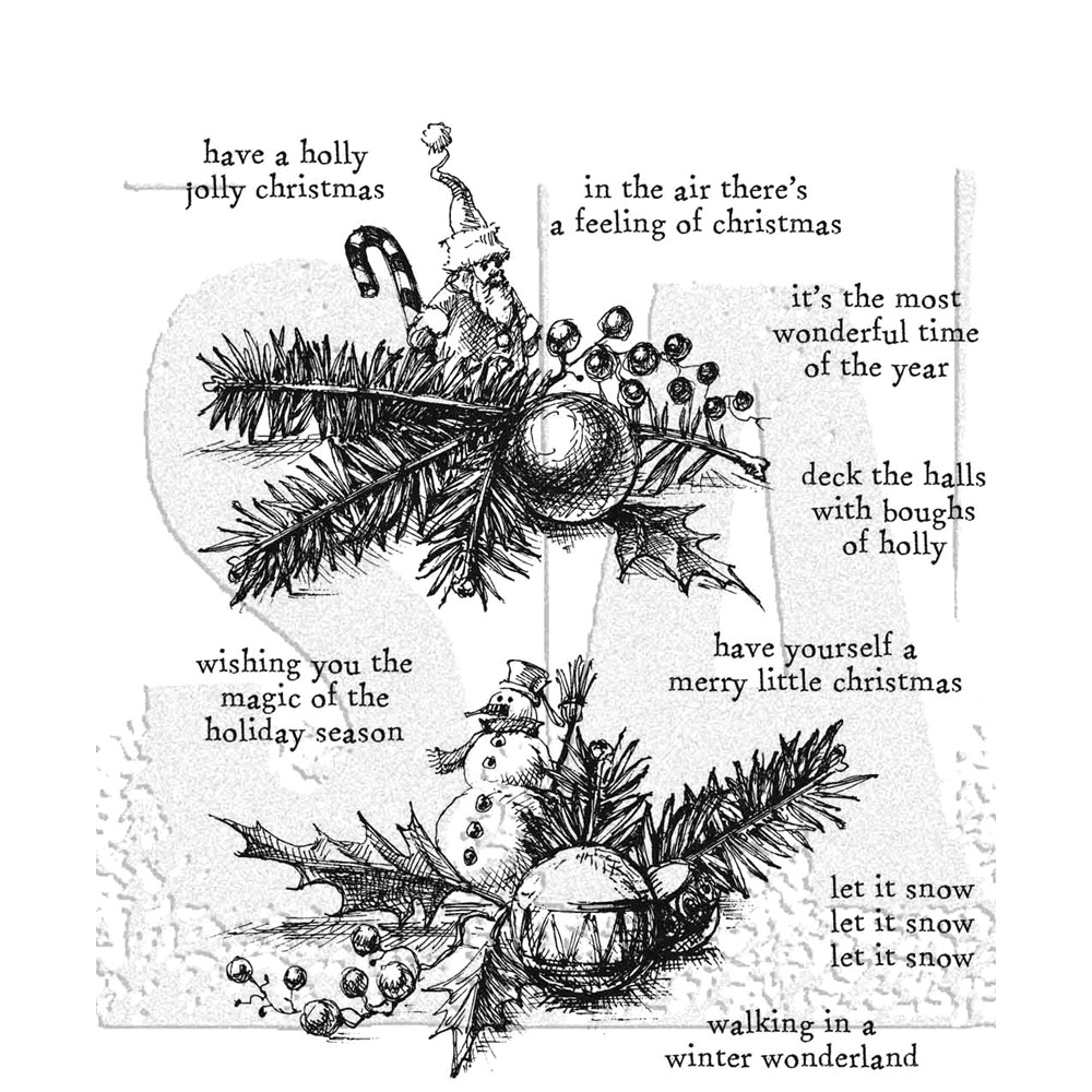 Tim Holtz Cling Rubber Stamps COZY CHRISTMAS CMS444 zoom image
