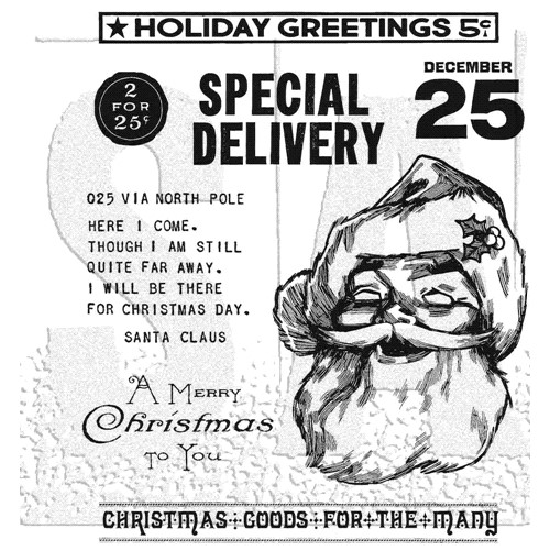 RESERVE Tim Holtz Cling Rubber Stamps JOLLY SANTA CMS442 Preview Image