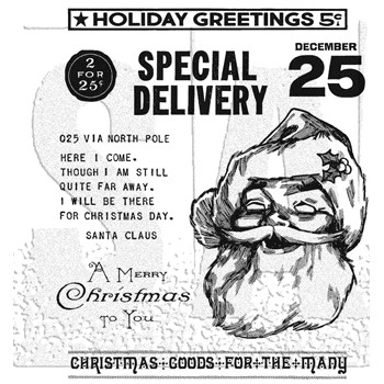 RESERVE Tim Holtz Cling Rubber Stamps JOLLY SANTA CMS442