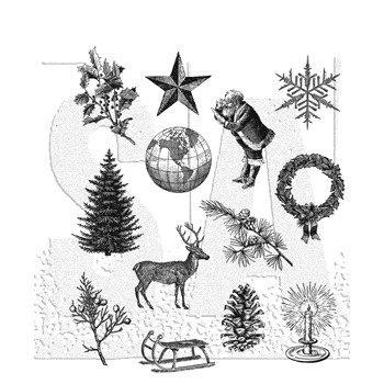 RESERVE Tim Holtz Cling Rubber Stamps HOLIDAY THINGS CMS441