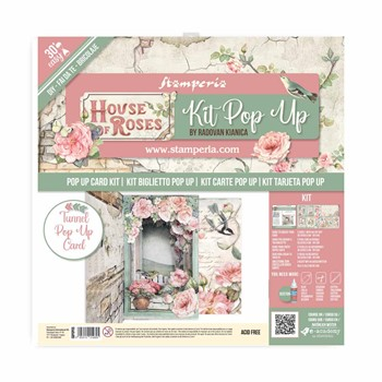 Stamperia HOUSE OF ROSES TUNNEL POP UP Card Kit sbpop05