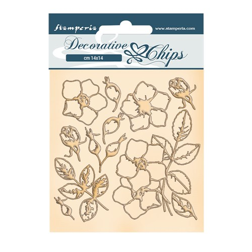 Stamperia ROMANTIC CHRISTMAS FLOWERS Decorative Chips scb69 Preview Image