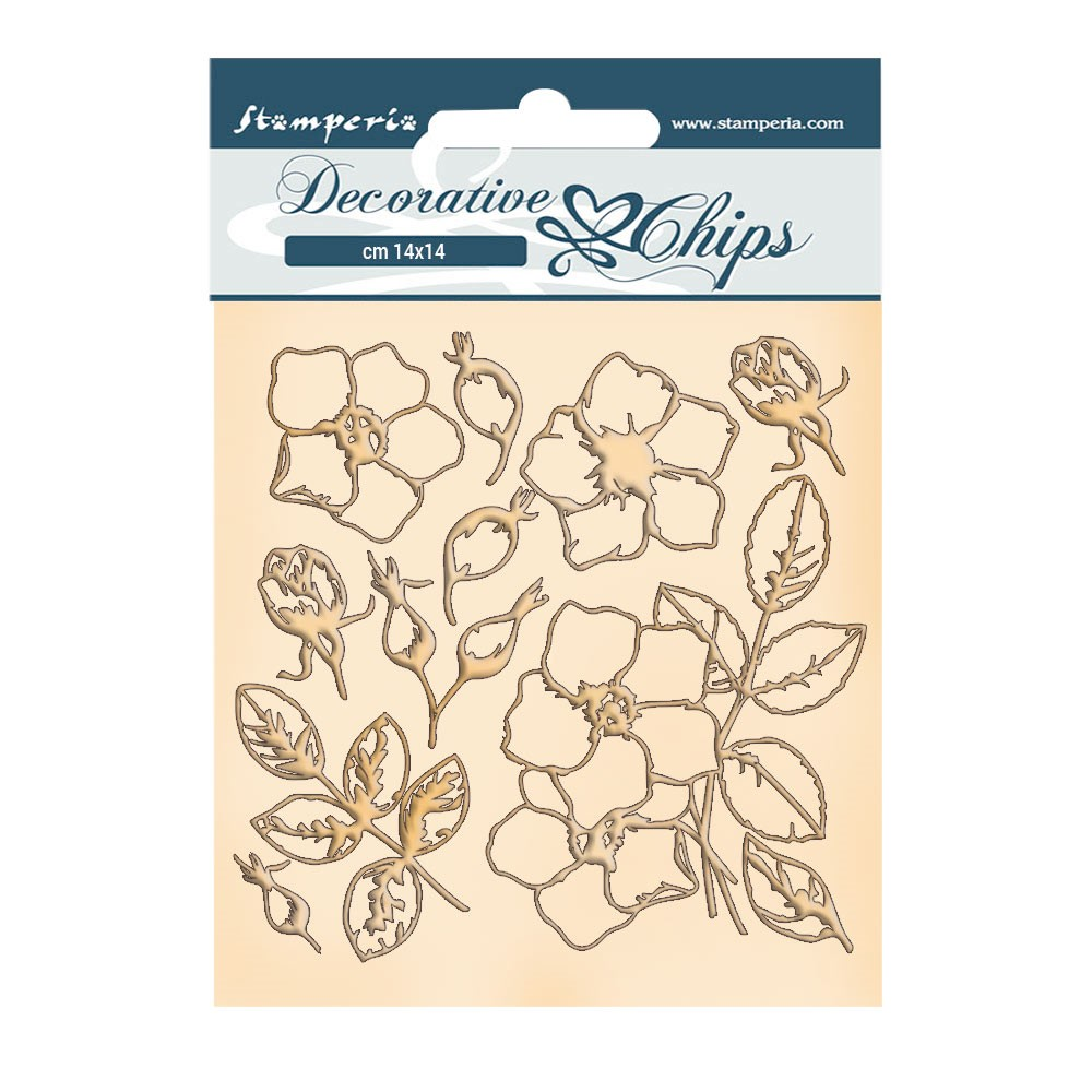 Stamperia ROMANTIC CHRISTMAS FLOWERS Decorative Chips scb69 zoom image