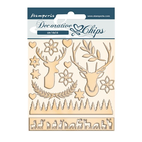 Stamperia PINK CHRISTMAS DEER Decorative Chips scb67 Preview Image