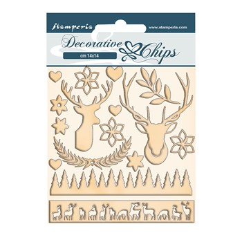 Stamperia PINK CHRISTMAS DEER Decorative Chips scb67