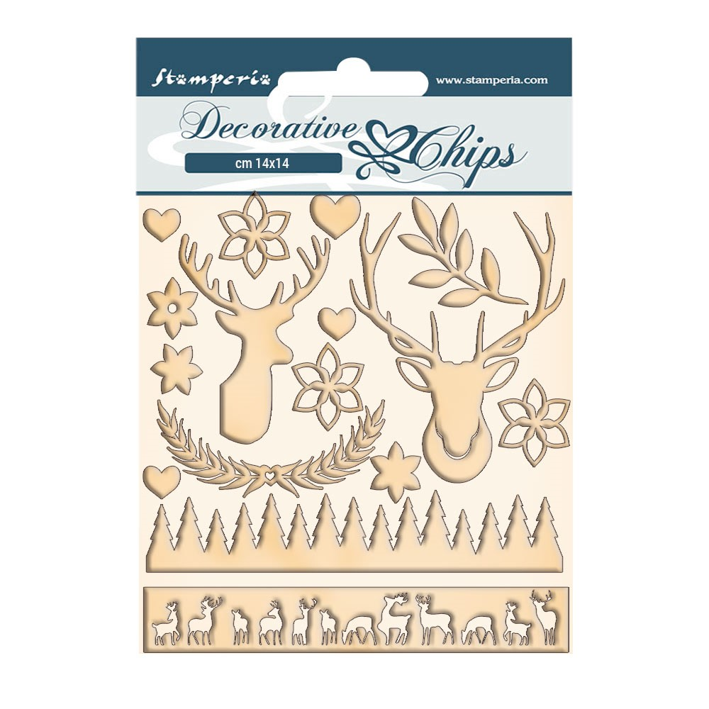 Stamperia PINK CHRISTMAS DEER Decorative Chips scb67 zoom image