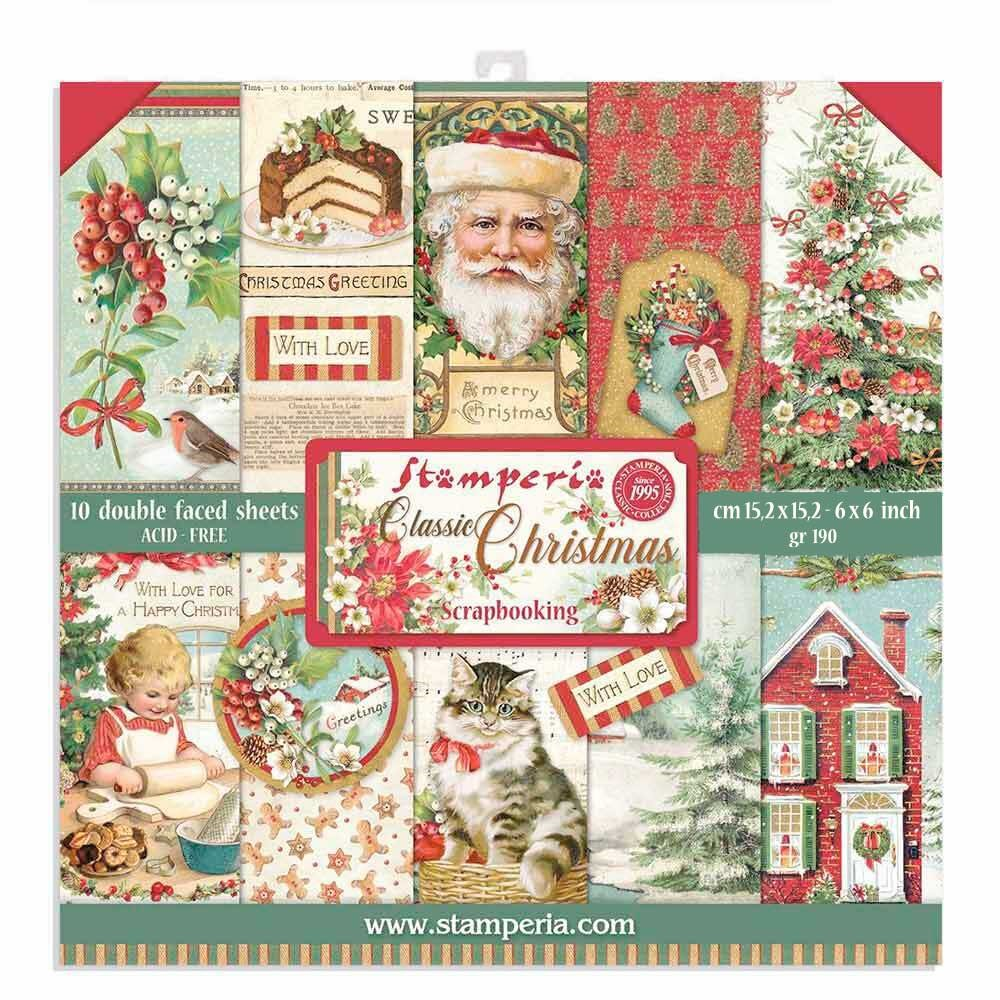 Stamperia CLASSIC CHRISTMAS 6x6 Paper sbbxs06 zoom image