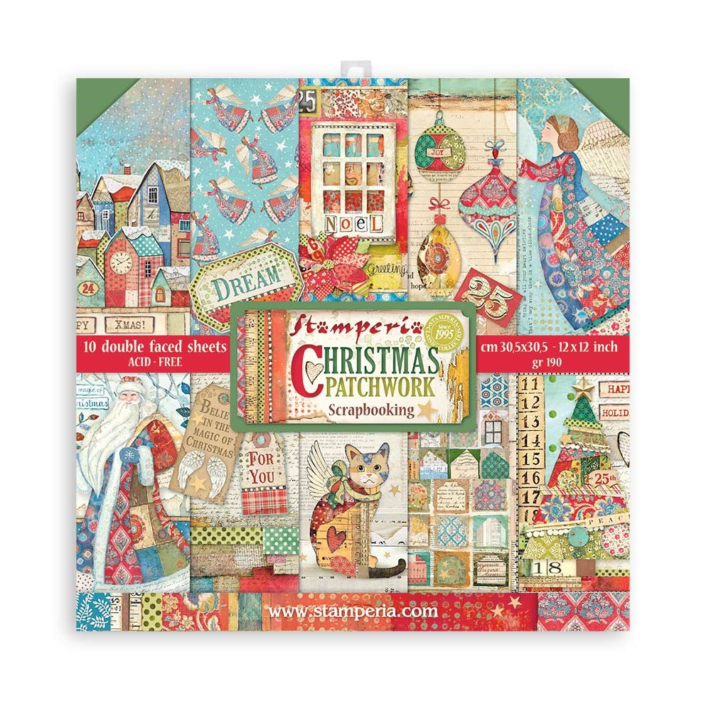 Stamperia CHRISTMAS PATCHWORK 12x12 Paper sbbl91 zoom image