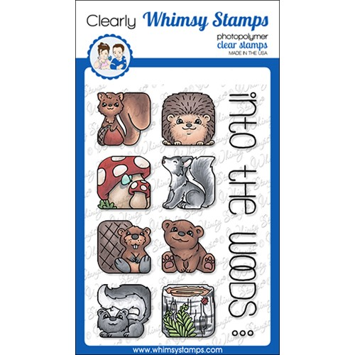 Whimsy Stamps ANIMAL TILES INTO THE WOODS Clear Stamps BS1033 Preview Image
