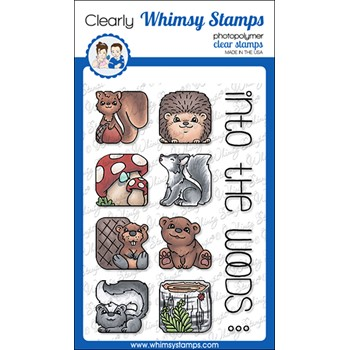 Whimsy Stamps ANIMAL TILES INTO THE WOODS Clear Stamps BS1033